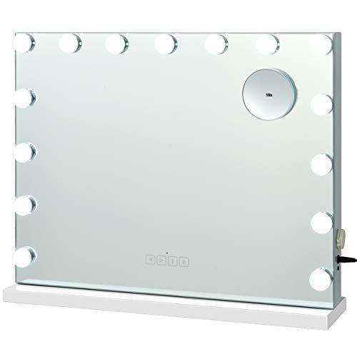 COSTWAY Schminkspiegel mit 15 LED Beleuchtung, Spiegel 3 Lichtfarben inkl. 10-Fach-Vergrößerungsglas, Kosmetikspiegel Bluetooth 58x15x48cm