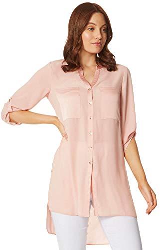 Roman Originals Blusa larga con botones a través de botones para mujer, elegante, informal, oficina, noche, manga 3/4, cuello en V, con botones, bolsillo en contraste, de gasa lisa, liviana, blusa