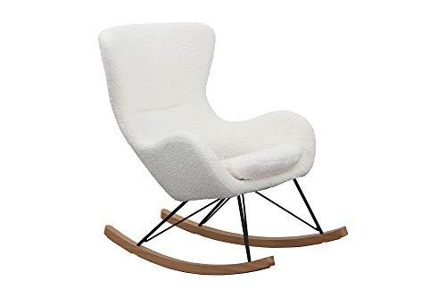 SalesFever Schaukelstuhl SKAL   Bezug Teddyfell in Weiß   Kufen Massiv-Holz   Gestell Metall schwarz   Rocking-Chair im skandinavischen Design