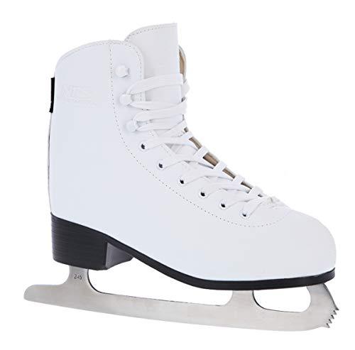NILS Damen Eiskunstlauf Schlittschuhe Extreme NF8565S Weiß Gr. 38 | Kunstleder Innenfutter Carbon-Stahl Kufen