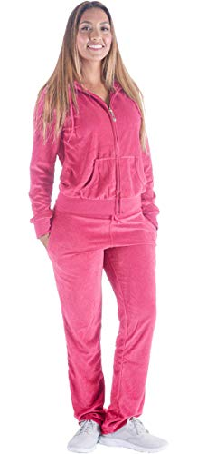 Jogging Suits for Women Plus Size Track Suit Two 2 Piece Outfits Velvet Tracksuit Sets Velour Zip Hoodie Sweatshirt & Sweatpants Sweatsuits(Coral, 3XL)
