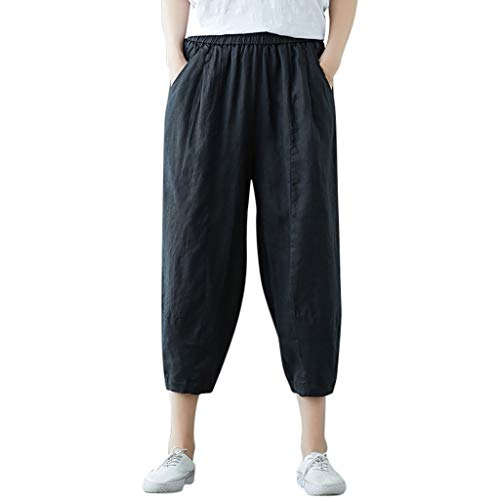 Lulupi Leinenhose Damen Sommer Lang Shorts Große Größe Pants Lange Hose Pumphose Weite Hose mit Seitentaschen Jogging Yoga Freizeit Strandhose
