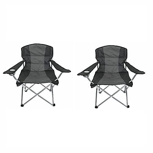 Mojawo 2'er Set Comfort Anglersessel Campingstuhl Faltstuhl Anglerstuhl Regiestuhl mit Getränkehalter und Tasche in Anthrazit gepolstert