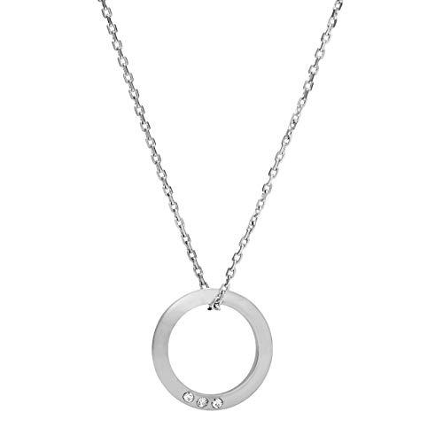 Fossil Women's Open Circle Silver-Tone Brass Necklace JOA00445040