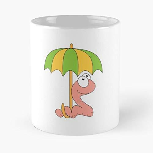 Umbrella Animals Rain Crazy Cartoon Worm Earthworm Funny Eat Food Bite John Best Taza de café de cerámica de 325 ml
