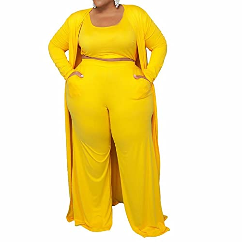 Women Sexy Plus Size 3 Piece Outfits - Crop Top Open Front Cardigan Sweatshirts Jacekt and Bodycon Wide Leg Pants Set Yellow 4X