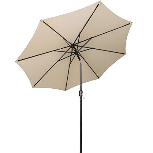 MVPower Sonnenschirm, 2,7m Sonnenschirm UV-Schutz UPF 50+, Marktschirm mit 8 Stahlverstrebungen und Kurbel, Gartenschirm Terrassenschirm rund regendicht Outdoor, für Garten, Balkon, Terrasse, 180 g/m²