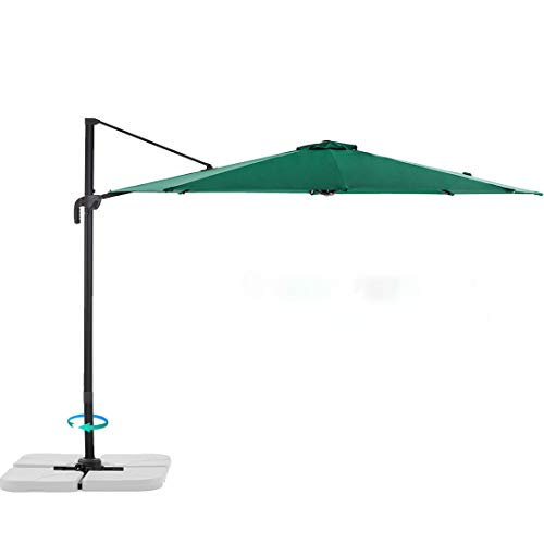 Le Conte 10ft Offset Cantilever Patio Umbrella Outdoor Hanging Umbrella - 360 Degree Rotation with Integrated Lifting System and Cross Base (Pine Green)