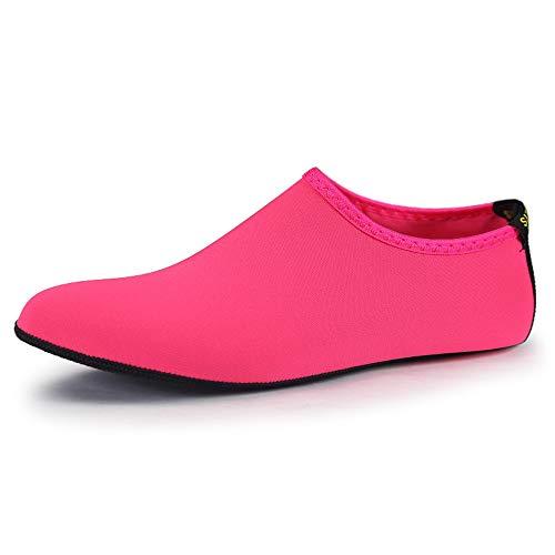 Pattrily Calcetines de buceo para hombre, transpirables, de secado rápido, antideslizante, para deportes acuáticos, calcetines de playa, color rosa