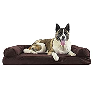 Furhaven Pet Dog Bed – Memory Foam Quilted Traditional Sofa-Style Living Room Couch Pet Bed with Removable Cover for Dogs and Cats, Coffee, Jumbo