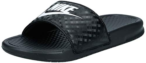 Nike Women's Benassi Just Do It Sandal, Black/White, 9 Regular US