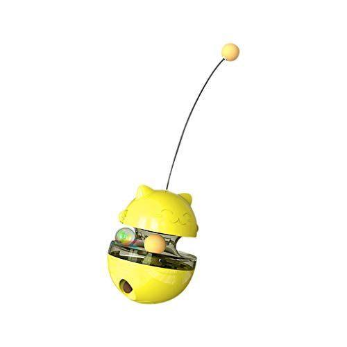 MODAO Best Interactive Cat Toys Tumbler Leaking Food Ball with Teasing Wand,Slow Food Feeder Funny Cat Stick Toy for Cats Kitten Exercise Interactive Game (Yellow)