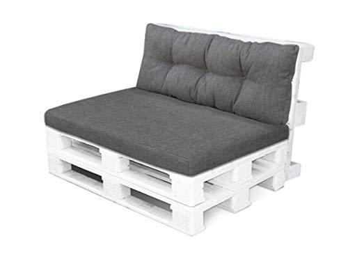 4myBaby GmbH Best for Garden Sitzkissen Palettenkissen für 2 Personen mit Rückenteil für Bank Bankauflage 120x80x10-16 cm KOMPLETT in vielen Farben (Dunkelgrau)