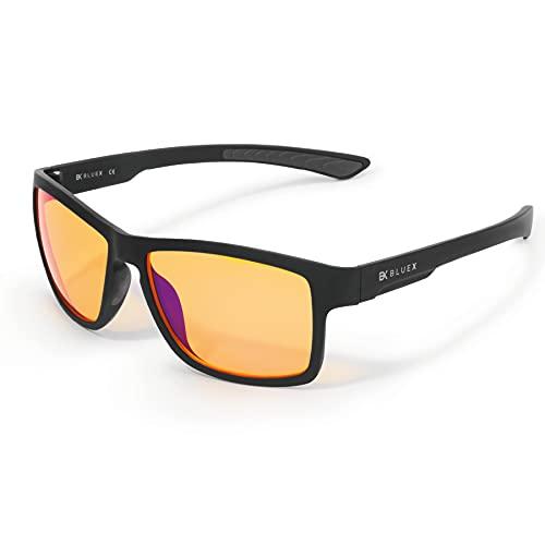 BlueX EVO - Gaming Brille 2.0 - TR90 Super Leicht - Mit blaulichtfilter 90% - Blaulichtfilter in drei Varianten für Gamer PCs und Büros - Computerbrill - Anti Müdigkeit, Anti blaulicht