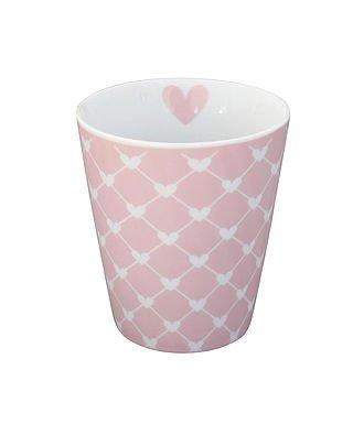 Krasilnikoff Kaffee Becher/Tasse/Mug New - diagonal pink Herzen