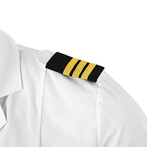 CHICTRY 1 Paar Epauletten Uniform Schulterklappen Schulterstücke Kapitän Schulterstücken mit 1 bis 4 Goldstreifen Militär Cosplay Kostüm Schwarz&Gold C One Size