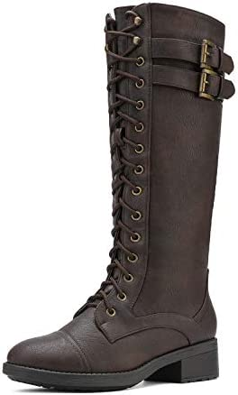 DREAM PAIRS Women s Georgia Brown Faux Leather Pu Knee High Riding Combat Boots Size 7 5 M US product image