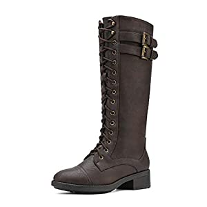 DREAM PAIRS Women's Pu Knee High Riding Combat Boots
