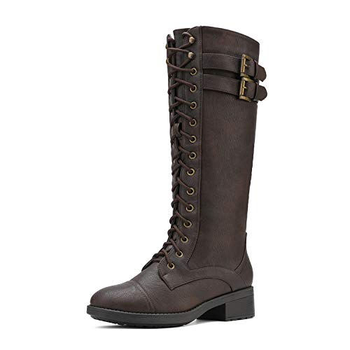 DREAM PAIRS Women's Georgia Brown Faux Leather Pu Knee High Riding Combat Boots - 9.5 M US