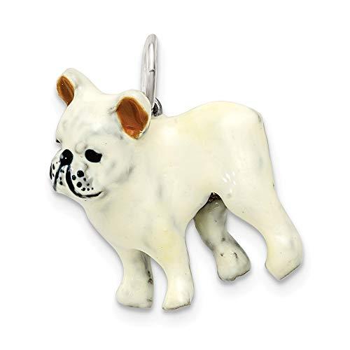 Saris and Things 925 Sterling Silber Silber emaille französisch Bulldog anhänger