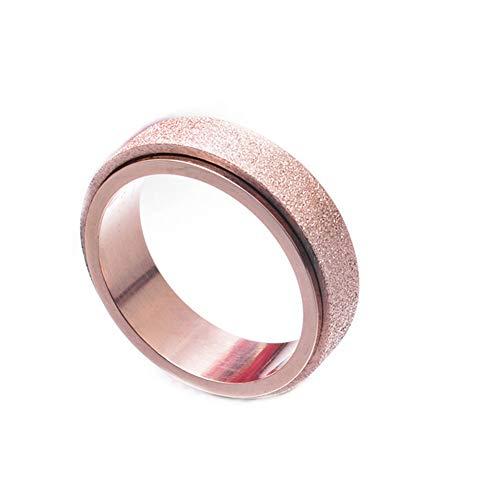 JER Anillo ráfaga de la Arena Acabado de Oro Rosa de Acero Titanium Anillos giratorios Inoxidable de la Manera Spinner Hombres de Las Mujeres 8