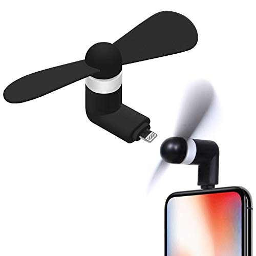 Cellet Portable Mini USB Fan [Powerful and Light Weight] Compatible with Apple iPhone 11 Pro Max XS Max Xr X 8/8 Plus 8 7/7 Plus and All Other 8 Pin USB Port, Black, Small (FANLIGHTNING)