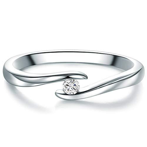 Tresor 1934 Damen-Spannring Sterling Silber Diamant weiß im Brillantschliff 0,05 Karat-Verlobungsring Diamantring Solitär Verlobungsring Brillant