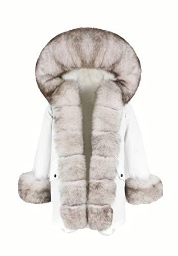 Lea Marie Bubble Parka XXL Kragen aus 100% ECHTPELZ ECHTFELL Jacke Mantel Pelztresse (Weiß, XL)