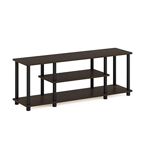 Furinno Turn-N-Tube 3-Tier Entertainment TV Stands, Dark Brown/Black