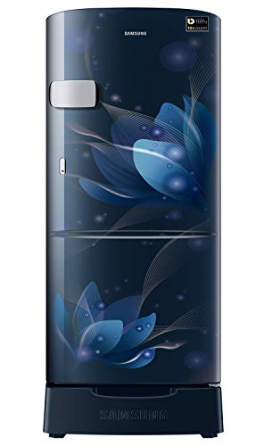 Samsung 192 L 3 star Inverter Direct Cool Single Door Refrigerator (RR20A1Z2YU8/HL, Saffron Blue, Base Stand with Drawer…