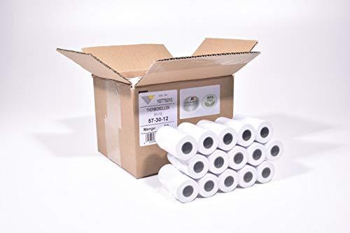 50 rollos de papel térmico sin estampar 57 mm x 9 m x 12 mm, diámetro del rollo 30 mm, grosor de papel térmico 55 g/m2, sin impresión.