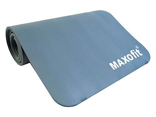 MAXOfit Yogamatte mit Griffen Trageriemen 180x60cm auch als Unterlage für Fitnessgeräte geeignet hellblau