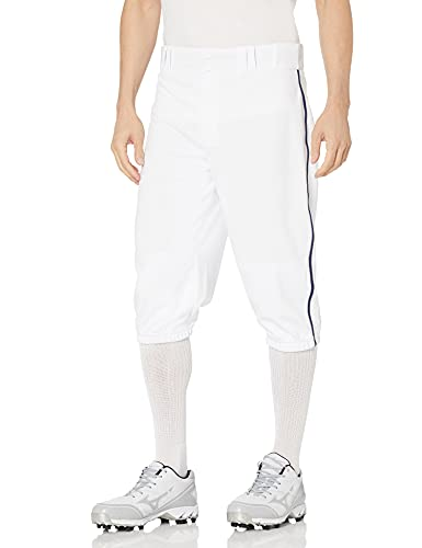 CHAMPRO Triple Crown Knicker Style Baseball Pants with Contrast-Color Braid Piping and Reinforced Sliding Areas, White, Navy Pipe, Medium