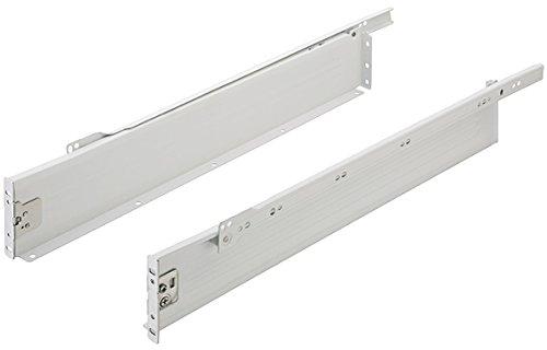 Schuifladensysteem laderails, gedeeltelijk uittrekbaar, lade-box, nominale lengte: 300 mm, draagkracht 25 kg, hoogte 86 mm, gedoTec® powered by HÄFELE 1 Paar - Länge: 600 mm Ral 9010 wit gecoat
