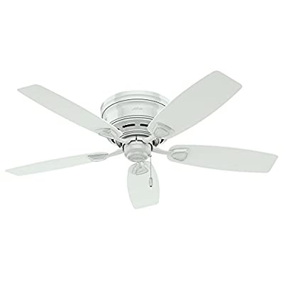 "Hunter Fan Company 53119 Etl Damp Listed, Ceiling Fan with Five White Plastic Blades, 48"","