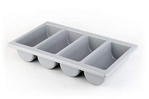 APS GN 1/1 Besteckbehälter, Besteckaufbewahrung, Besteckkasten aus Kunststoff, vier Kammern, 32,5 x 53 cm, Höhe 10 cm, grau