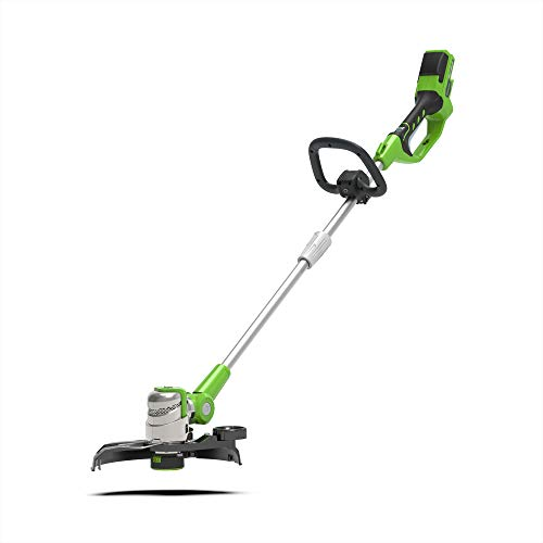 Photo of Greenworks Battery Lawn Trimmer G24LT30M Deluxe (Li-Ion 24 V 40 cm Cutting Width 8500 rpm Variable Speed Control Turnable & Tiltable Motor Head Additional Handle Flowerguard Without Battery & Charger)