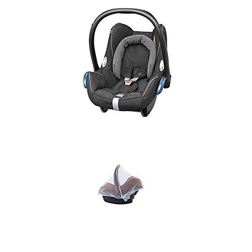 Maxi-Cosi Cabriofix, Babyschale Gruppe 0+ (0-13 kg), Black Diamond (schwarz), ohne Isofix-Station + Moskitonetz passend für Kindersitz, Cabriofix, Pebble und Citi SPS