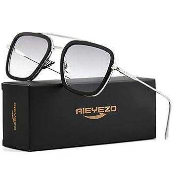 Tony Stark Sunglasses Vintage Square Metal Frame Eyeglasses for Men Women - Iron Man and Spider-Man Sun Glasses  Tony Stark Same Color