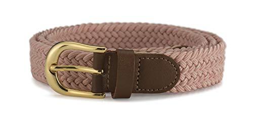 Streeze Cinturón Mujer Damas de Tela Elástica Entretejida. 5 Tamaños. Anchura de 25mm y Hebilla Dorada (Rosa, XL)