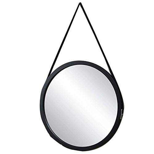 Miroir Cosmétique Miroir grossissant Style simple et moderne, 60 CM, Blanc et Miroir rond en bois noir, mural, avec Sling et crochet, principalement c