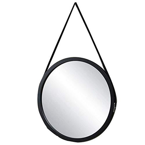 Miroir Cosmétique Miroir grossissant Style simple et moderne, 60 CM, Blanc et Miroir rond en bois noir, mural, avec Sling et crochet, principalement comme salle de bains Miroir Dressing salle de bain