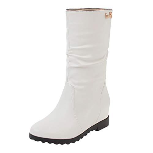 NMERWT Damen Schuhe Herbst und Winter Damen Boots Flach Gefütterte Schlupf Stiefel Stiefeletten Damen Stiefel Gefüttert