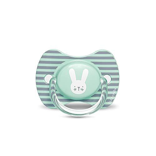 Suavinex 306604 - Suavinex - chupete premium para bebés 6-18 meses. Chupete con tetina fisiológica de silicona. 0% bpa, Rabbit Verde Stripes, unisex