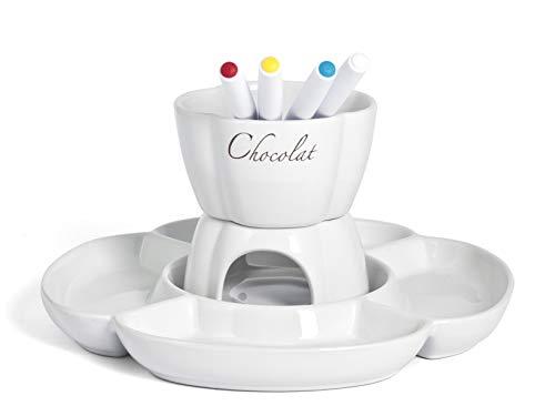 Home Chocolat Set Fonduta Cioccolato per 4 Persone, Bianco