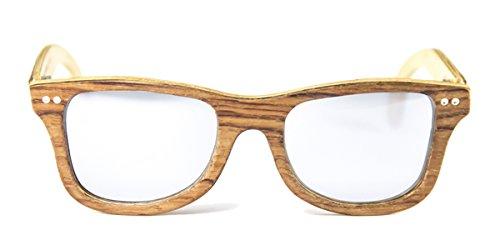 Gafas de madera Regular Bubinga Lente Plata Espejo - FELER