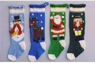 Ann Norling Knitted Christmas Stockings #1013 (Snowman, Reindeer, Santa & Nutcracker)