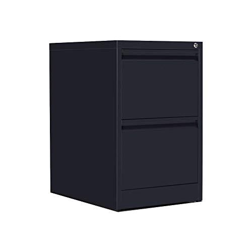 OFITURIA ® Archivador Metálico Organizativo De Oficina Negro con 2 Cajones para Carpetas DIN A4 Y Folio, Documentos con Llave, 62 X 46 X 72