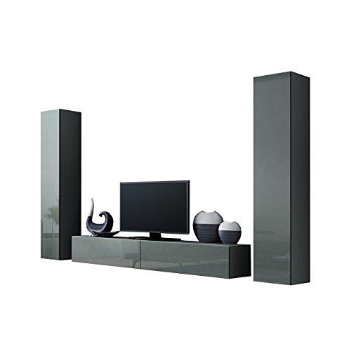 Wohnwand VIGO IV Anbauwand Modernes Wohnzimmer Set, Mediawand, Hängeschrank Vitrine, TV-Schrank (Grau/Grau Hochglanz)