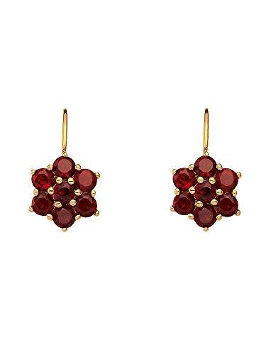 1 Paar Gold Ohrringe Boutons Ohrhänger 8 k 333 Gelbgold mit Granat
